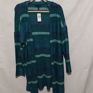 Nwt LANE BRANT GREEN OPEN FRONT DUSTER CARDIGAN 18